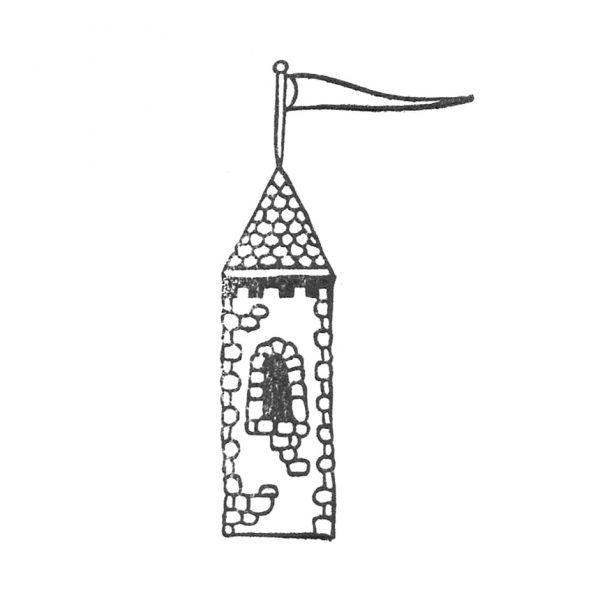 gestempelter Turm mit Fähnchen