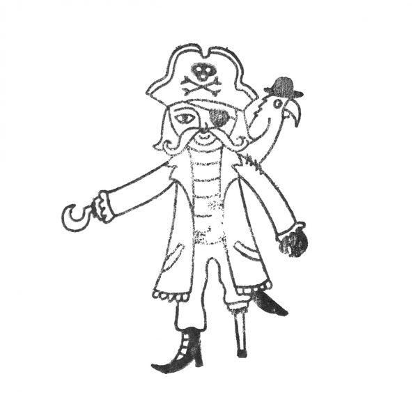 gestempelter Pirat mit Holzbein, Hakenhand und Papagei auf der Schulter