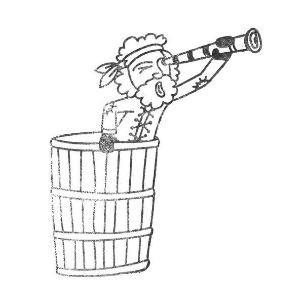 gestempelter Pirat im Krähennest mit Fernrohr