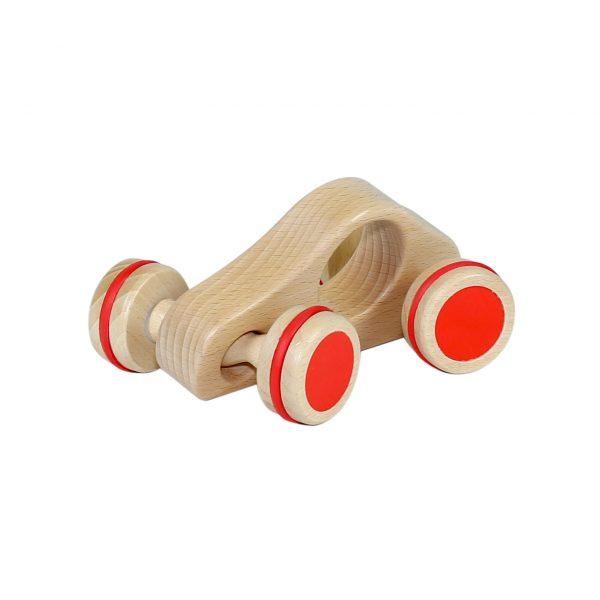 Foto: Lenkauto aus Holz mit rotem Gummi auf den Reifen.