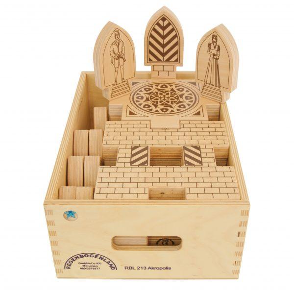 "Foto: Kiste mit Regenbogenland Bausteinen ""Akropolis"""