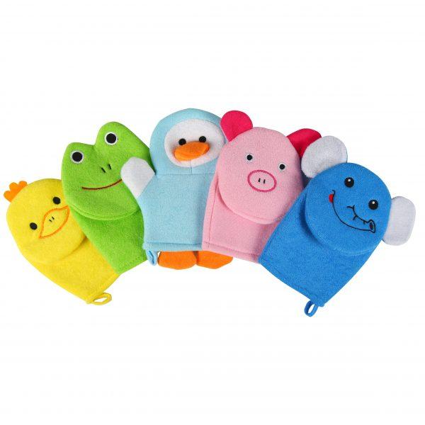 Foto: 5 Waschlappentiere: gelbe Ente, grüner Frosch, hellblauer Pinguin, rosa Schwein und blauer Elefant