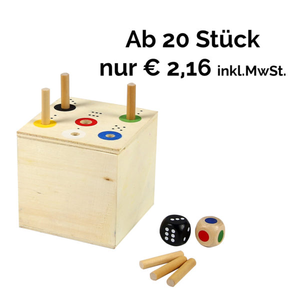Ab in die Box, Gesellschaftsspiel aus Holz für Kindergarten- und Schulkinder