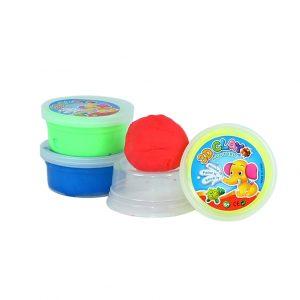 Foto: 4 Töpfchen mit Hüpfknete in blau, grün, rot und gelb