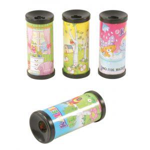 Foto: 4 Mini-Kaleidoskope mit verschiedenen Motiven