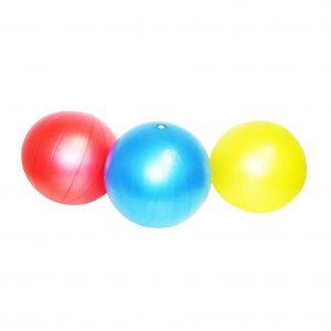 Foto: 3 Softbälle in rot, blau und gelb