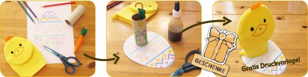 Bildanleitung für Ostergeschenk aus Waschhandschuh Küken, Klorolle und Osterei-Druckvorlage