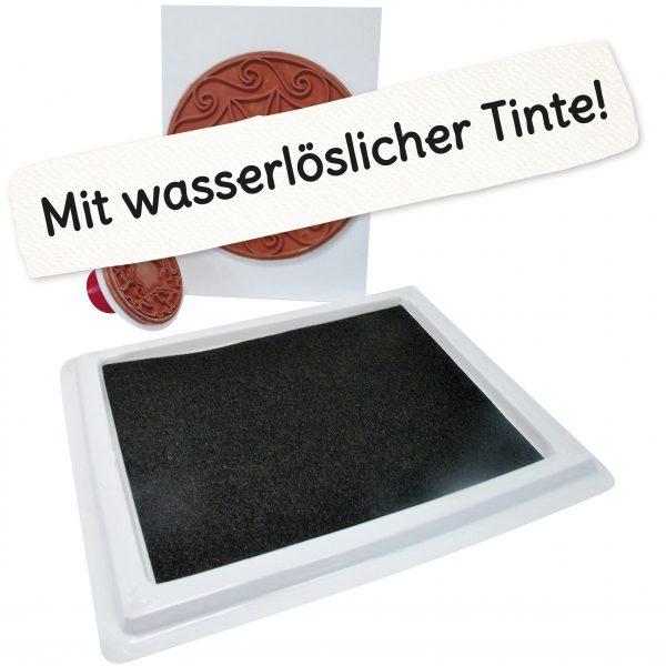 """Riesenstempelkissen mit Schriftzug """"Mit wasserlöslicher Tinte!"""""""