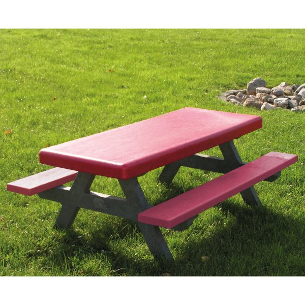 Foto: Kinder-Picknicktisch aus recycling-Kunststoff rot