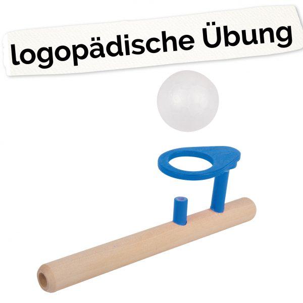 """Foto: Pustespiel """"schwebender Ball"""" und Schriftzug: logopädische Übung"""