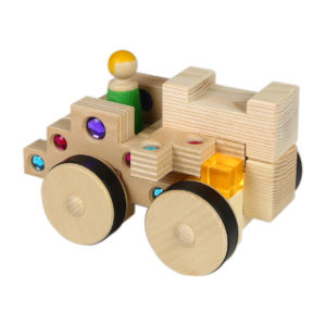 4/4 Bausteine Grundfahrzeug für Kinder bestehend aus 4 Holzbausteinen und Dekoration