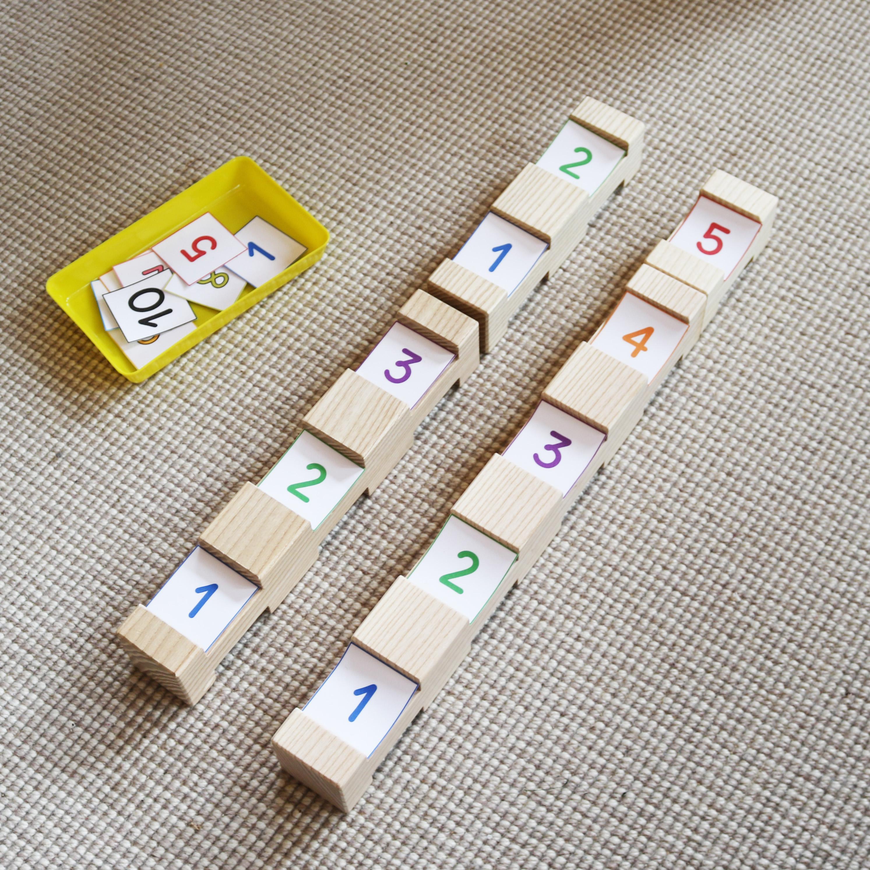 bunte Zahlenkarten 1-10 für die 4/4 Holzbausteine zum Rechnen für Kinder