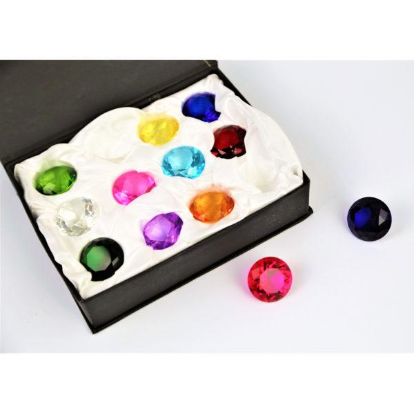 12 Glasdiamanten in einer schönen Box. Für Kindergarten- und Schulkinder als Geschenk oder Dekoration