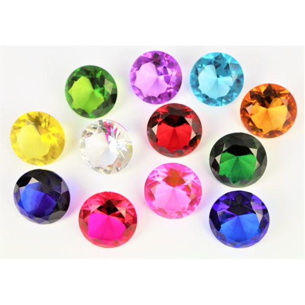 12 Glasdiamanten für Kindergarten- und Schulkinder als Geschenk oder Dekoration
