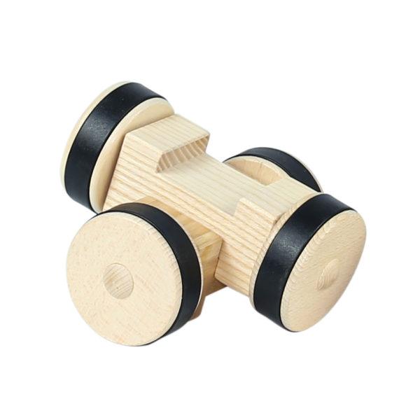 2 Stück 4/4 Bausteine 1er Räder aus Holz, Stahachse und Gummi für Kinder