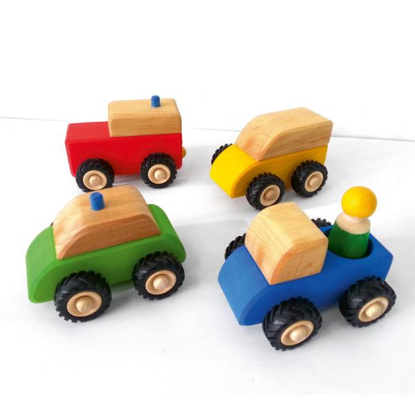 4 kleine Holzfahrzeuge mit Flüsterreifen für Kinder von Bauspiel