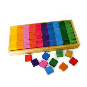 Mosaikplättchen quadratische bunte Holzbausteine für Kinder