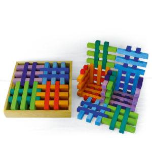 Gitterklötze bunt Holzbausteine für Kinder im Holzkasten