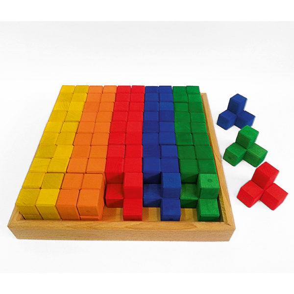 Winkelwürfel bunte Holzbausteine für Kinder im Holzkasten