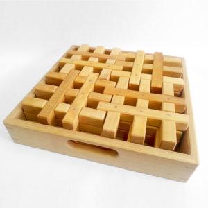 Gitterklötze natur Holzbausteine für Kinder im Holzkasten