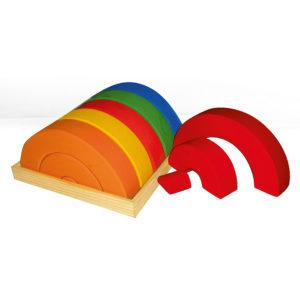 Junior-Bogen-Set bunte Holzbausteine in Bogenform für Kinder von Bauspiel
