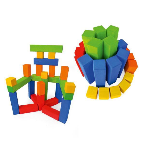 Bauwerke aus Junior-Treppe bunte Bausteine in Treppenform für Krippenkinder von Bauspiel