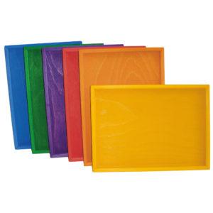 6 Legetabletts in bunten Farben für Legearbeiten im Kindergarten