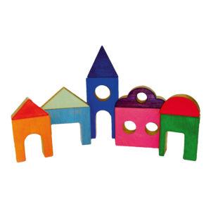 Bunte Holzbausteine für Kinder zum Bauen von Spieldörfern