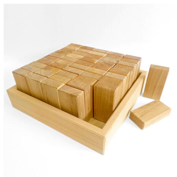 50 Bauquader Holzbausteine natur geölt für Kinder