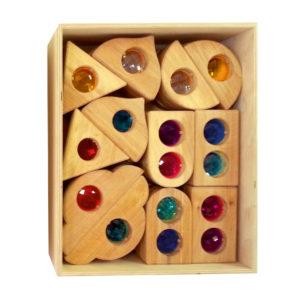36 Märchenschlossfenster Holzbausteine natur für Kinder im Holzkasten