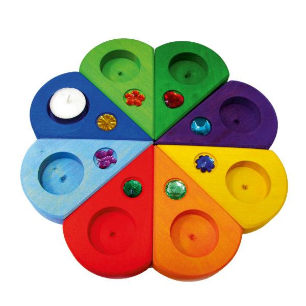 Geburtstagskranz für den Kindergarten aus 8 bunten Elementen mit Glitzersteinen