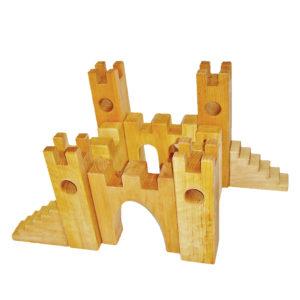 10-teilige Rittterburg aus Holz für Kinder