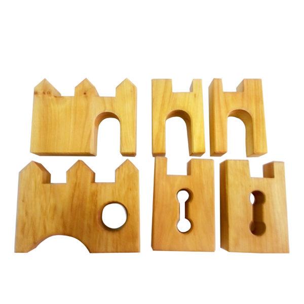 6 Teile der Ritterburg Erweiterung aus Holz von Bauspiel