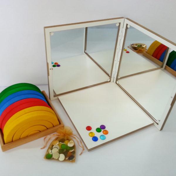 Inhalt des Spiegelkoffer-Sets für den Kindergarten von Bauspiel