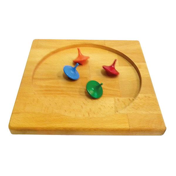 Kreiselbrett aus Holz mit 10 bunten Holzkreisel für Kinder