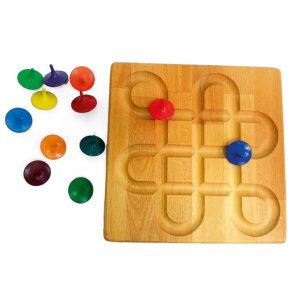 Kreiselbrett aus Holz mit 10 bunten Holzkreisel für Kinder von Bauspiel