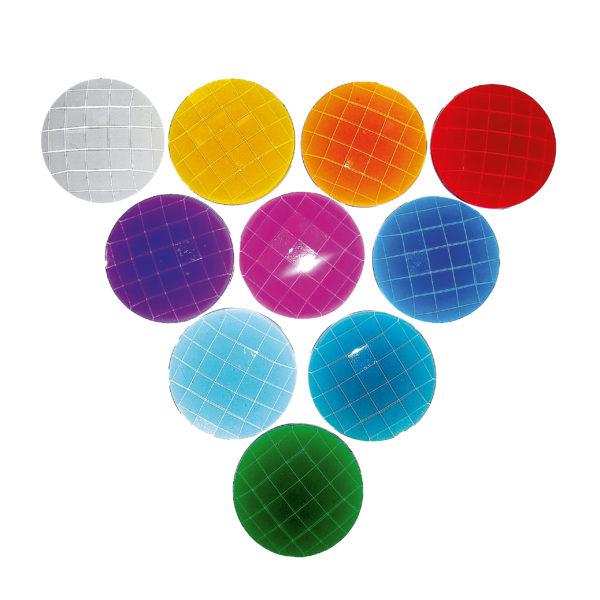 Funkelsteine in 10 Farben zum Legen und verzieren von Bauwerken aus Holzbausteinen
