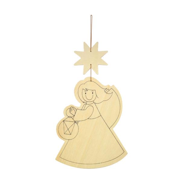 Unbemalter Christkind Anhänger aus Holz für Kinder zum Basteln und Gestalten