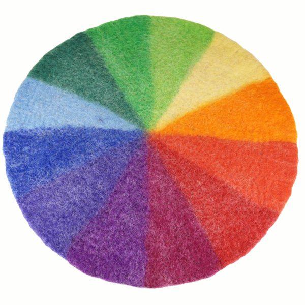 Runder Farbenkreis Teppich aus Filz.