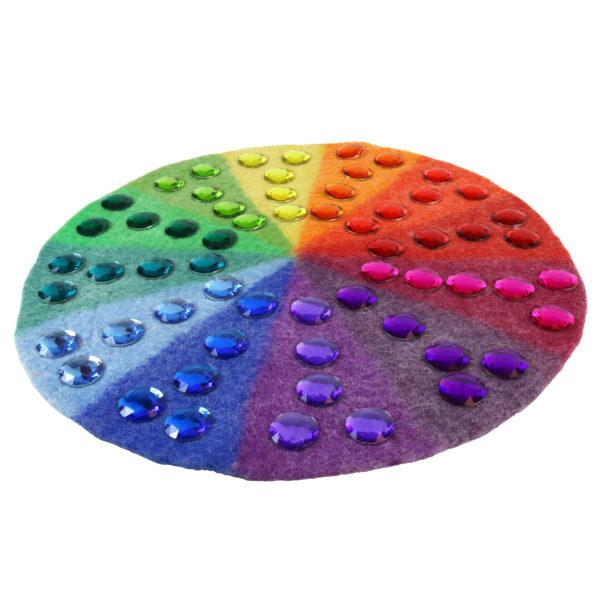 Farbenkreis in Kombination mit großen Funkelsteinen in 12 Farben.