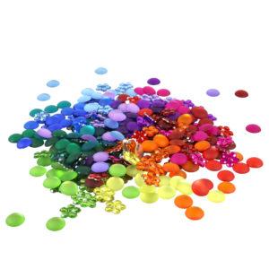 Glitzersteine in 12 Farben für Legearbeiten im Kindergarten