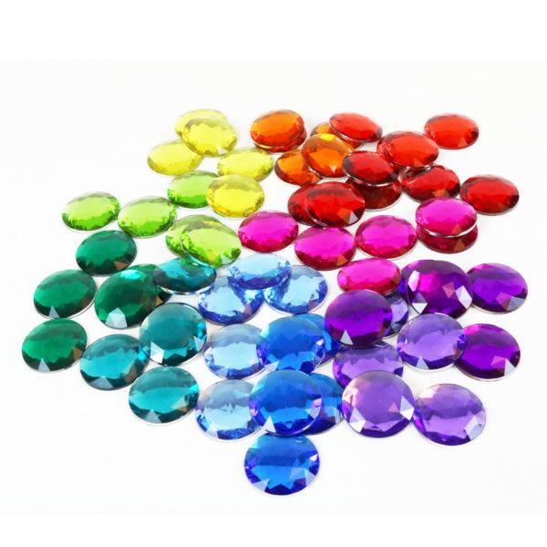 Große Glitzersteine in 12 Farben für Legearbeiten im Kindergarten