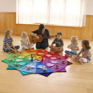 Farbenkreis mit Zubehör in Verwendung im Kindergarten als Jahreskreis. Pädagogin singt mit Kindern.