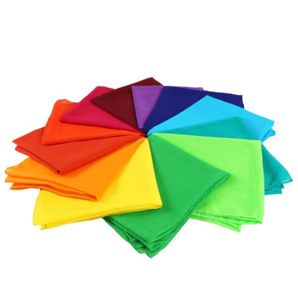 Spieltücher aus Baumwolle für den Kindergarten in 12 bunten Farben des Farbenkreises