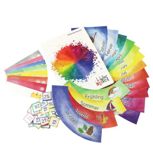 Kalenderkarten zum Legen des Jahreskreises in Kindergarten und Schule in den 12 Farben des Farbenkreises