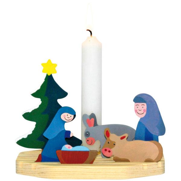 Bastelarbeit aus Holz für Kindergarten und Schule: eine Mini Krippenszene als Kerzenhalter