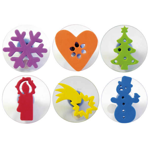 6-teiliges Stempelset aus Kunststoff mit Weihnachtsmoiven