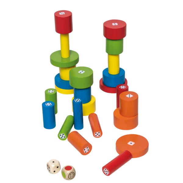 Spielsteine aus Holz des Gesellschaftspiels Torreta für das Kindergartenalter