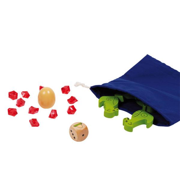 Inhalt des Spiels Spiky von beleduc: Stoffbeutel, Holzwürfel, Holzdrachen, Edelsteine und Drachenei