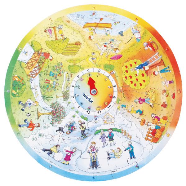 Gesamtansicht des XXL Lernpuzzles 4 Jahreszeiten. Um die herausnehmbare Jahreszeitenuhr in der Mitte gruppieren sich Bilder zum Jahresverlauf